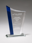 Zenith Series Clear Glass Award with Blue Glass Highlights Jade Glass Awards
